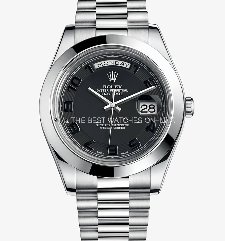 Rolex Day-Date II 218206 Platina Black Concentric circles dial Men Automatic Replica Watch