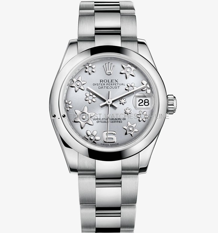 Swiss Rolex Datejust Ladies 178240 Grey dial with Flowers bugling Automatic Replica Watch