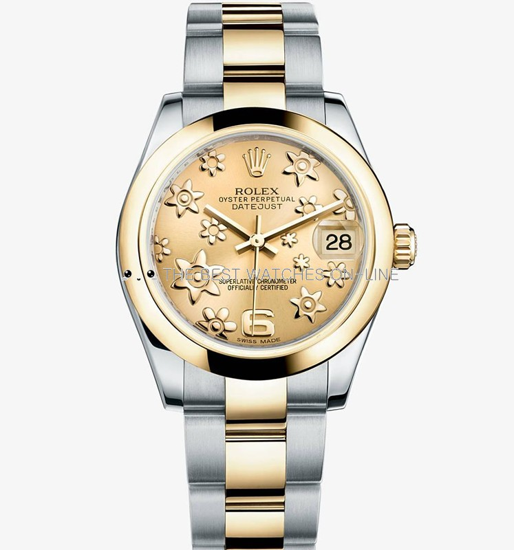 Swiss Rolex Datejust Ladies 178243 Champagne dial with Flowers bugling Automatic Replica Watch