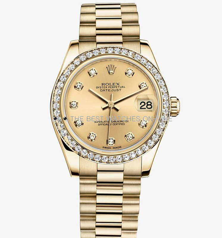 Swiss Rolex Datejust Ladies 178288 Yellow Gold Champagne dial Diamond bezel Automatic Replica Watch