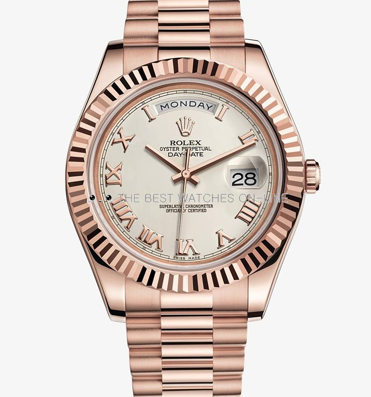 Rolex Day-Date II 218235 Rose gold Ivory white dial Men Automatic Replica Watch