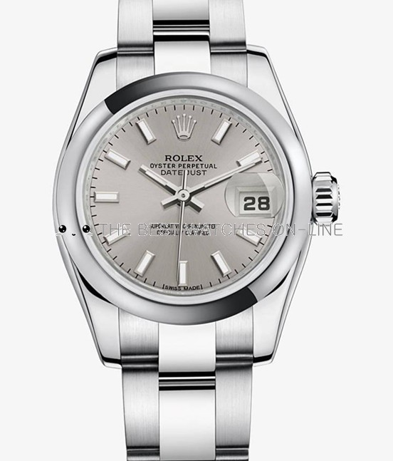 Swiss Rolex Datejust Ladies 179160 Silver dial Bar-type time markers Automatic Replica Watch