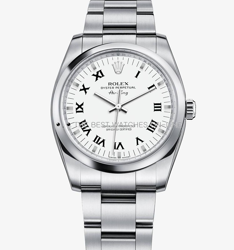 Swiss Rolex Air-King 114200 White dial Roman numerals Men Automatic Replica Watch