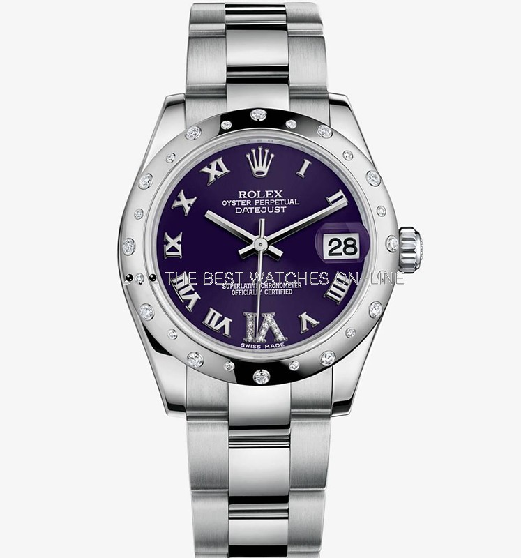 Swiss Rolex Datejust Ladies 178344 Purple dial Diamond bezel Roman numerals Automatic Replica Watch