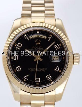 Rolex Day-Date II Replica Watches Black Dial RX41114