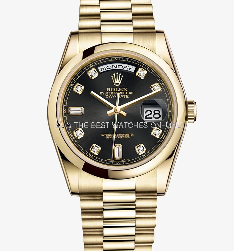 Swiss Rolex Day-Date 118208 18K Yellow Gold Black dial Diamond time markers Men Automatic Replica Watch