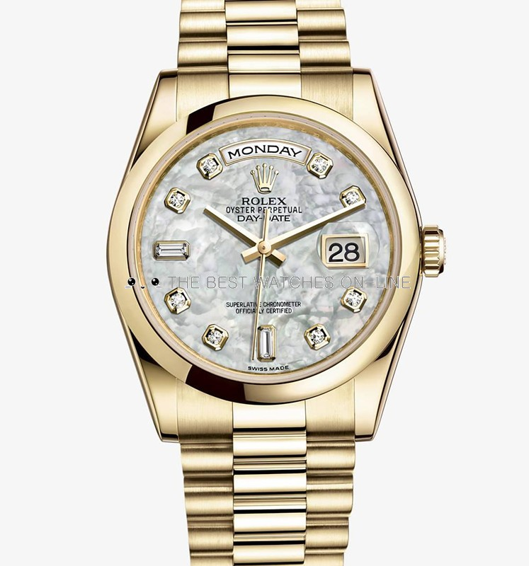Swiss Rolex Day-Date 118208 18K Yellow Gold White MOP dial Diamond time markers Men Automatic Replica Watch