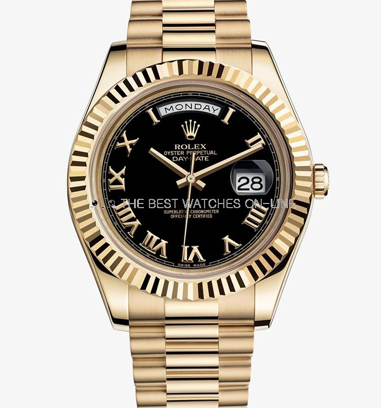 Rolex Day-Date II 218238 18K Gold Black dial Men Automatic Replica Watch