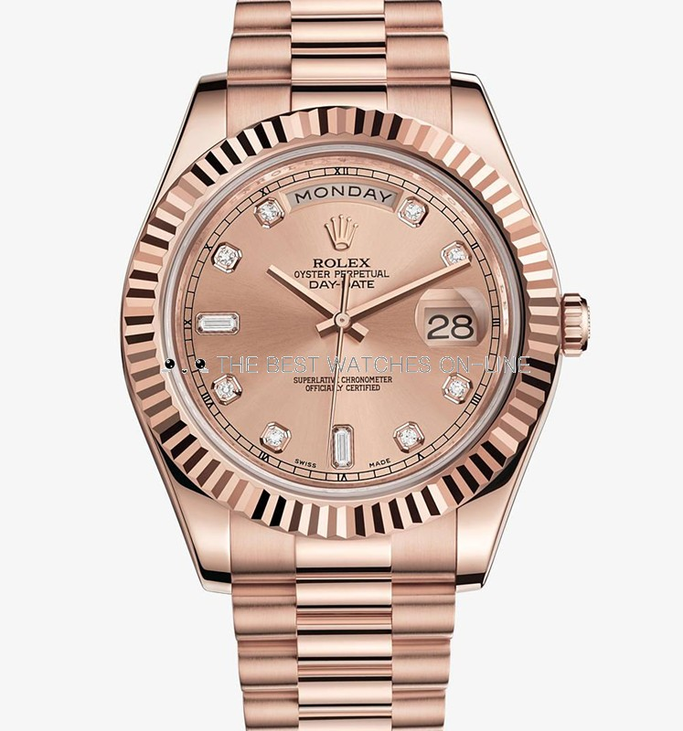 Rolex Day-Date II 218235 Rose gold Diamond Champagne dial Men Automatic Replica Watch