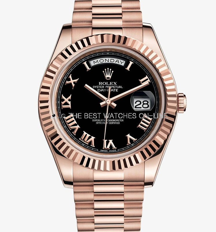 Replica Rolex Day-Date II Automatic Watch 218235-0034 Black Dial 41mm