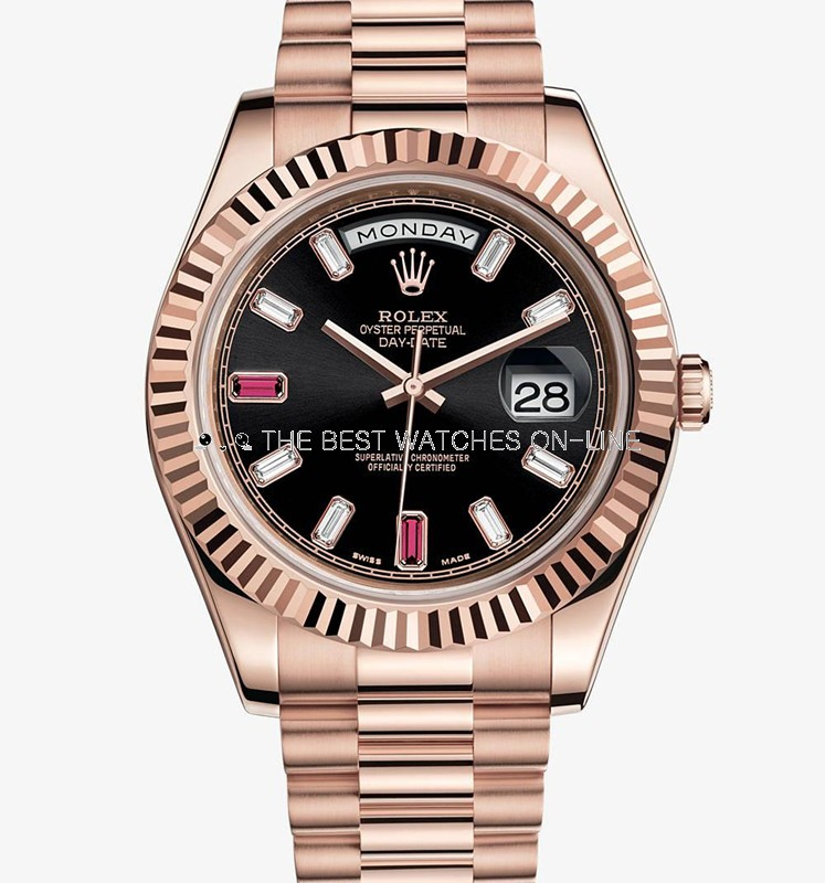 Rolex Day-Date II 218235 Rose gold Black dial Bar diamond Men Automatic Replica Watch