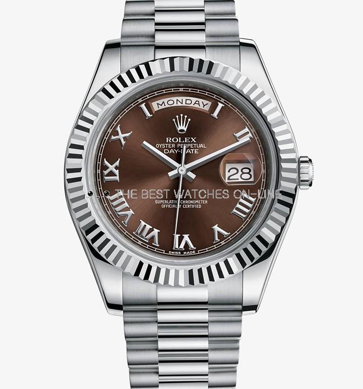 Swiss Rolex Day-Date II 218239 18K White gold Brown dial Men Automatic Replica Watch