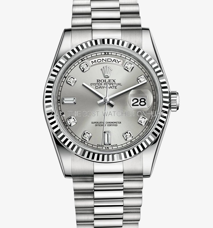 Swiss Rolex Day-Date 118239 18K White Gold Silver dial Diamond time markers Men Automatic Replica Watch