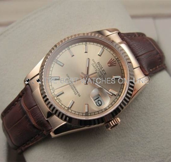 Swiss Rolex Datejust Rose Gold Brown Leather strap Golden dial Stick time markers Automatic Replica Watch