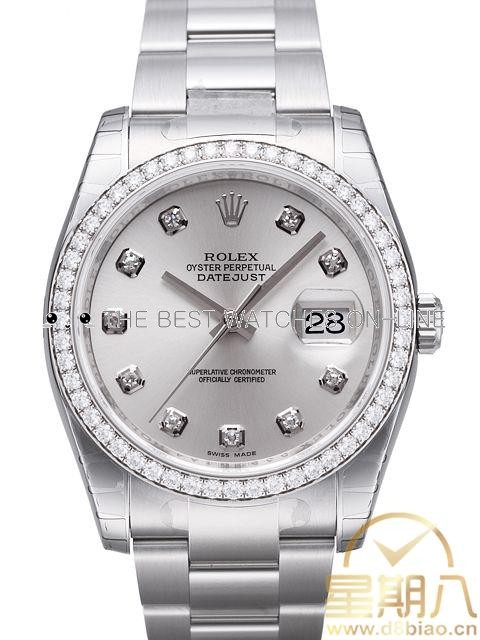 Swiss Rolex Datejust Mens 116244-0033 Silver dial Diamond time markers and Diamonds bezel Automatic Replica Watch