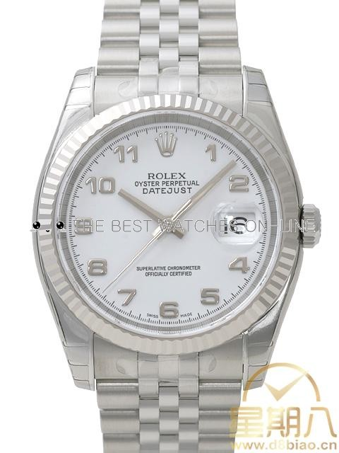 Swiss Rolex Datejust Mens 116234 White dial Arabic numerals time markers Automatic Replica Watch
