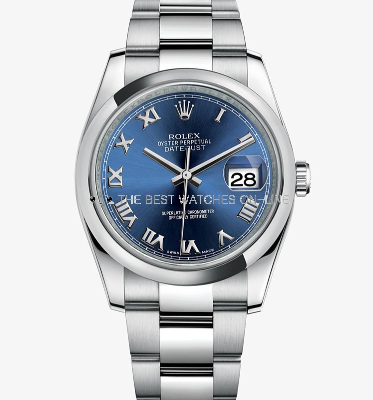 Swiss Rolex Datejust Mens 116200-0060 Blue dial Roman numerals time markers Automatic Replica Watch