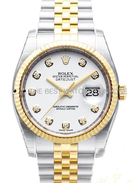 Swiss Rolex Datejust Mens 116233 White dial Diamond time markers Automatic Replica Watch