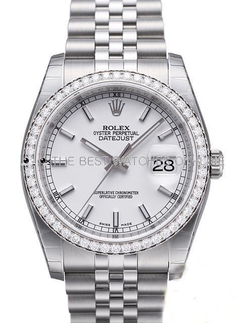 Swiss Rolex Datejust Mens 116244-0064 Diamonds bezel White dial Bar-type time markers Automatic Replica Watch