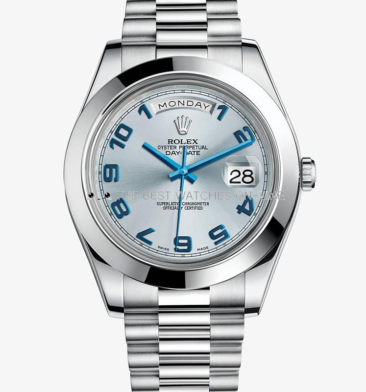 Rolex Day-Date II 218206 Platinum Ice blue dial Arabic numerals Men Automatic Replica Watch