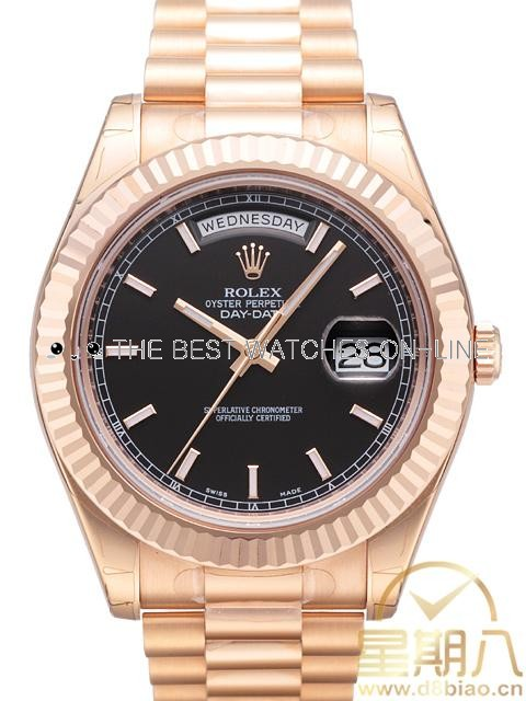Rolex Day-Date II 218235 Rose gold Black dial Bar-type time markers Men Automatic Replica Watch
