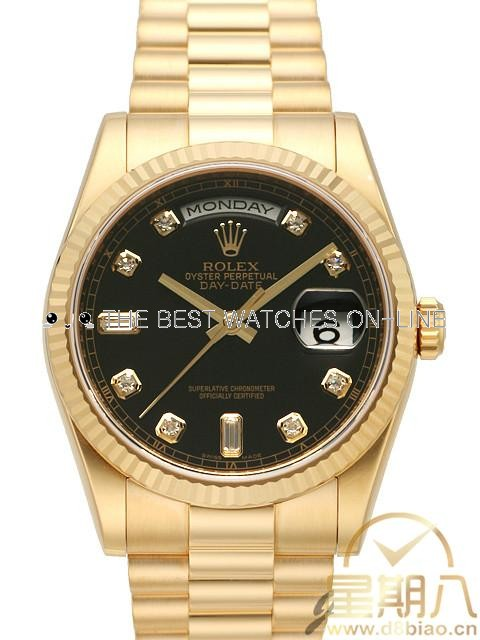 Rolex Day-Date 118238 18K Yellow Gold Black dial Diamond time markers Men Automatic Replica Watch