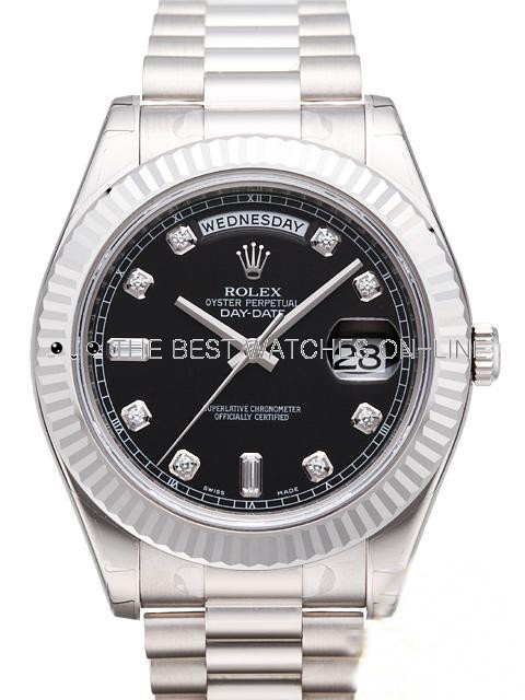 Swiss Rolex Day-Date II 218239 18K White Gold Black dial Diamond time markers Men Automatic Replica Watch