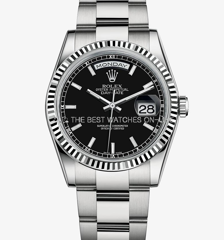 Swiss Rolex Day-Date 118239 Black dial Bar-type time markers Men Automatic Replica Watch