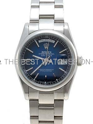Rolex Oyster Day Date Replica Watches White Gold Blueblack RLLP09