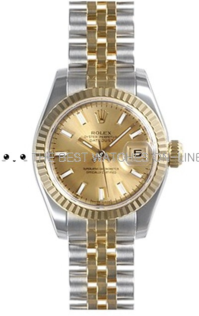 Rolex Oyster Perpetual 179173-63133 Champagne Dial Ladies Automatic Replica Watch