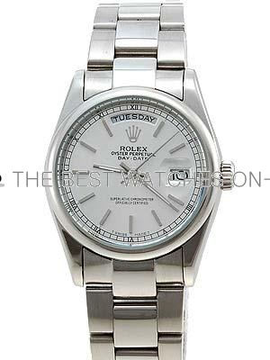 Rolex Oyster Day Date Replica Watches White Gold Silver dial bar hour markers RLLPA6