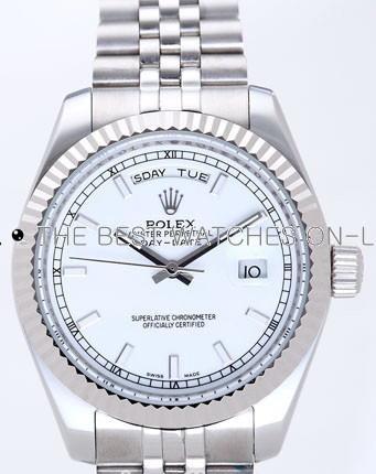 Rolex Day-Date II Replica Watches Silver Dial RX41144