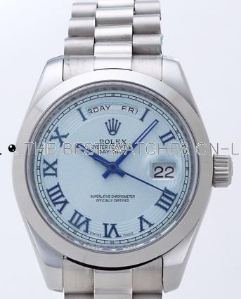 Rolex Day-Date II Replica Watches Blue Dial RX41147