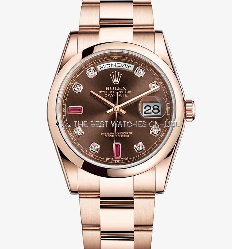 Swiss Rolex Day-Date 118205 18K Rose Gold Brown dial Diamond Ruby time markers Men Automatic Replica Watch