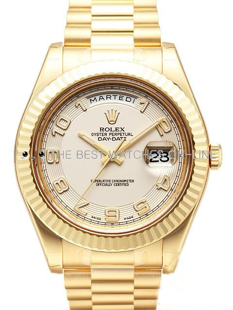 Rolex Day-Date II 218238 18K Yellow Gold White dial Arabic numerals Men Automatic Replica Watch