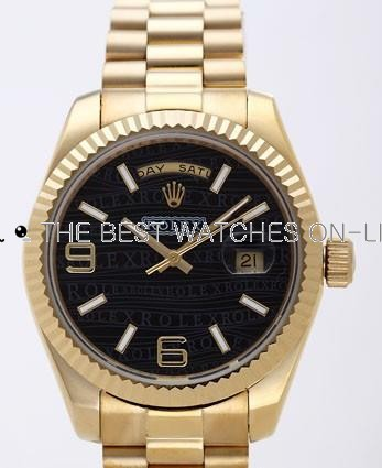 Rolex Day-Date II Replica Watches Black Dial RX41163-1