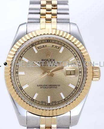 Rolex Day-Date II Replica Watches Gold Dial RX41123