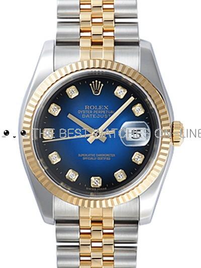 Rolex Oyster Perpetual 116233-G-63203 Dark-blue dial Men Automatic Replica Watch