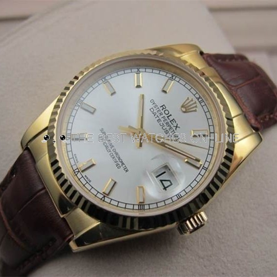 Replica Rolex Datejust Automatic Watch White Dial Brown Leather 36mm