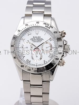 Rolex Daytona Replica Watches White Dial Roma hour markers SS Band