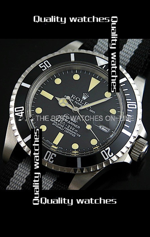 Rolex Submariner Vintage Zebra-stripe Nylon strap Automatic Replica Watch