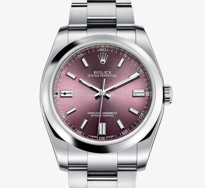Swiss Rolex Oyster Perpetual 116000 Red grape dial Bar-type time markers Automatic Replica Watch