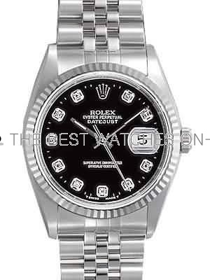 Rolex Datejust Replica Watches SS Stainless Steel Black Dial Diamond Hour markers V