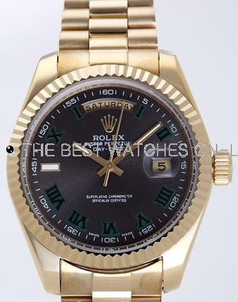Rolex Day-Date II Replica Watches Black Dial RX41172