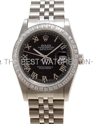 Rolex Datejust Replica Watches SS Black dial roman numeral markers I