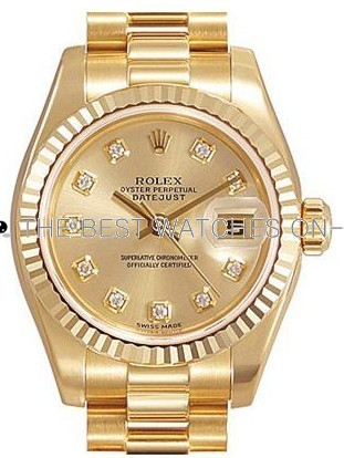 Swiss Rolex Datejust Ladies 179178G Gold Dial Ladies Automatic Replica Watch