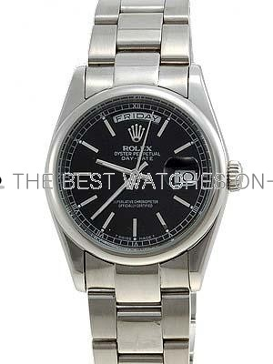 Rolex Oyster Day Date Replica Watches White Gold Black dial bar hour markers RLLP01