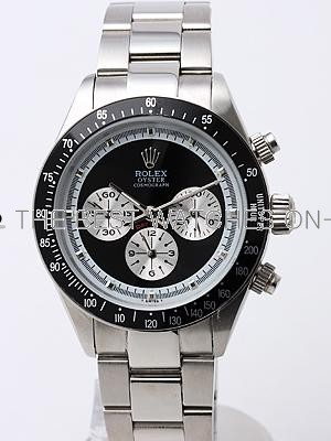 Rolex Daytona Replica Watches SS Black Dial White Inner Meter SS band