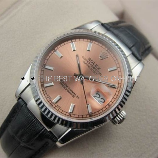 Swiss Rolex Datejust 18K White Gold Black Leather strap Pink Dial Stick Time markers Automatic Replica Watch
