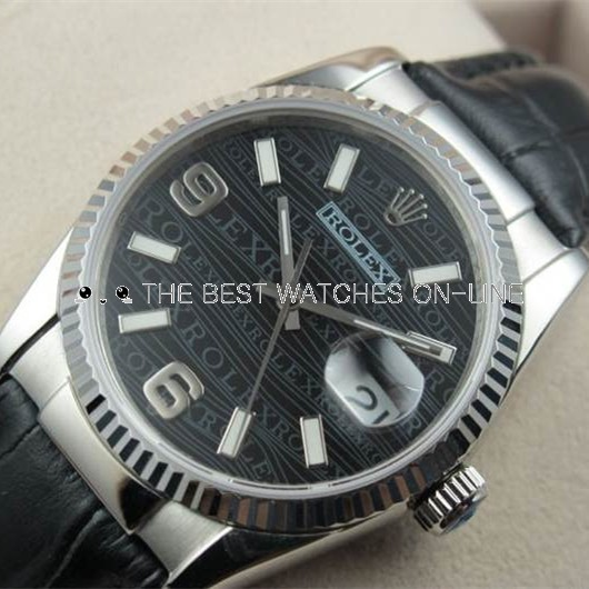 Swiss Rolex Datejust 18K White Gold Black Leather Strap Black Dial Automatic Replica Watch